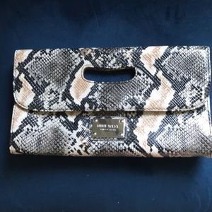 Nine West Faux Snakeskin Clutch